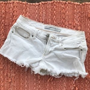 OLD NAVY White Jean Shorts, Distressed 0